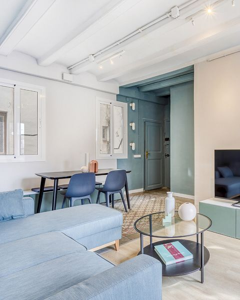 a vintage and cool apartment in barcelona living room and dining room