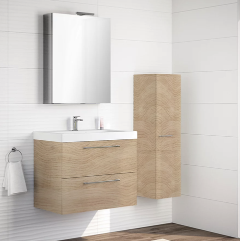 bathroom cabinet with remix basin with 2 drawers oak 60x48 cm