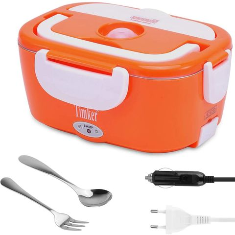 3 in 1 for car truck and work 40w with two compartments removable tray 304 stainless steel portable 15l 304 fork and spoon orange and white