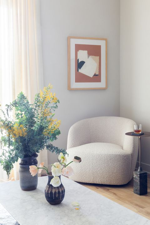 white hair armchair