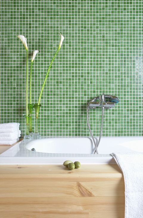 bathtub decorated with a plant