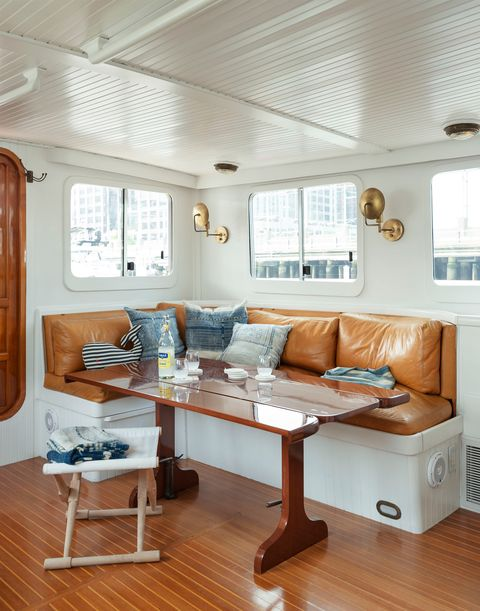 interior of the ship transformed into a living room