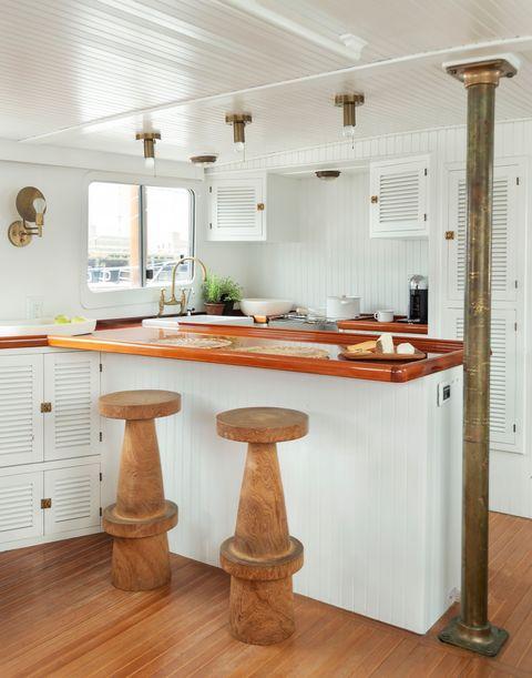 kitchen with white laminated wood peninsula