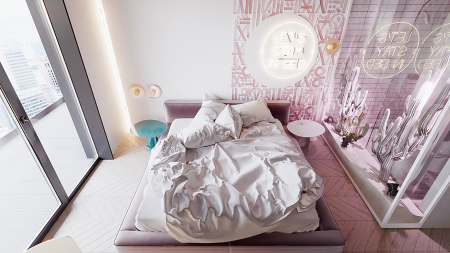 Ideas for decorating a pink bedroom # 23