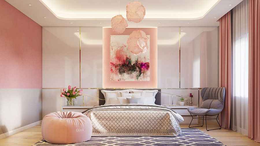 Ideas for decorating a pink bedroom # 18