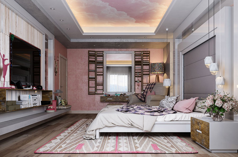 Ideas for decorating a pink bedroom # 28