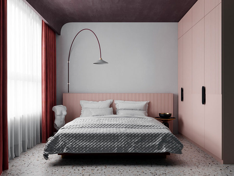 Ideas for decorating an antique pink and gray bedroom # 08