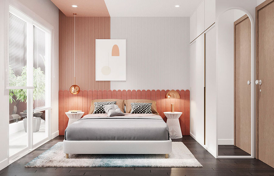 Ideas for decorating an antique pink and gray bedroom n.09