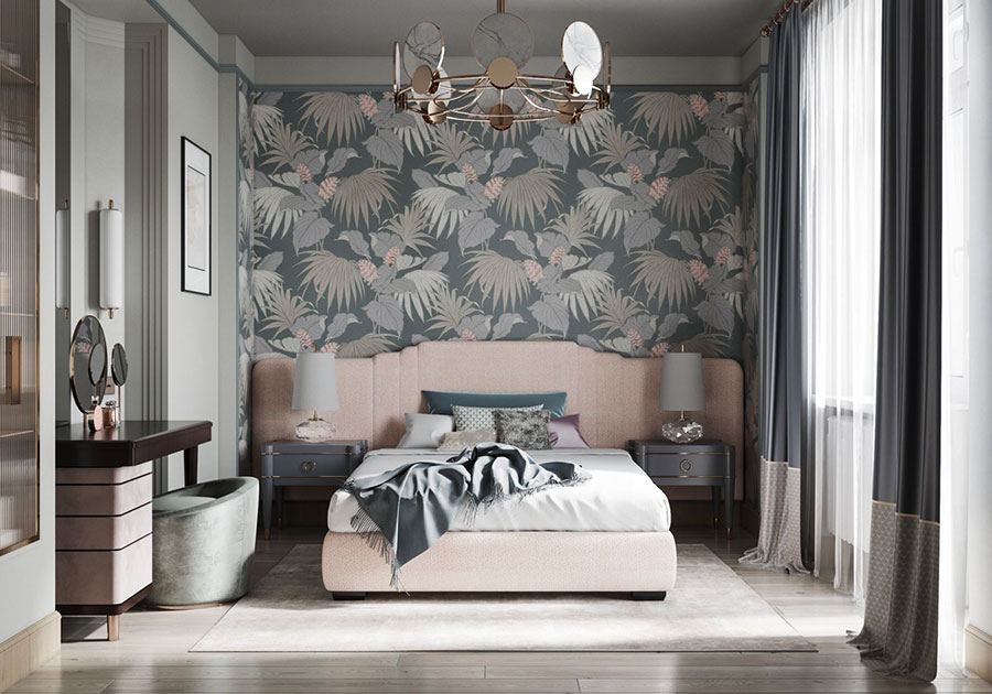 Ideas for decorating an antique pink and gray bedroom n.05