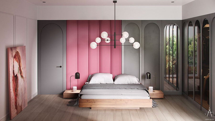 Ideas for decorating a gray and pink bedroom # 11