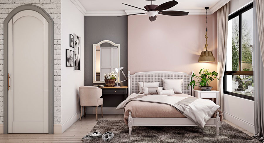 Ideas for decorating an antique pink and gray bedroom # 04