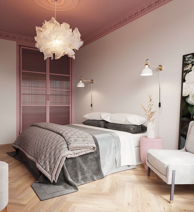 Ideas for decorating a gray and pink bedroom # 09