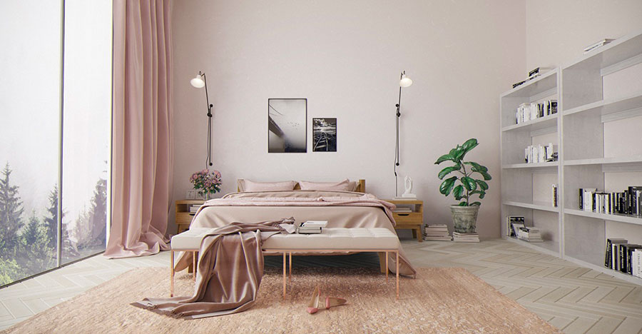 Ideas for decorating an antique pink and gray bedroom # 03