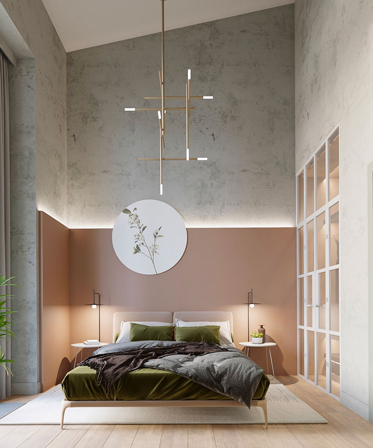 Ideas for decorating an antique pink and gray bedroom # 06
