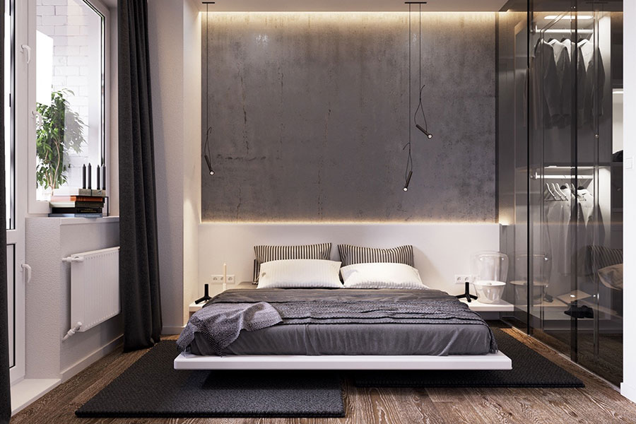 Ideas for decorating a gray bedroom # 02