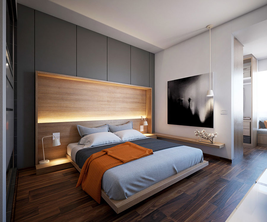 Ideas for decorating a gray bedroom # 08