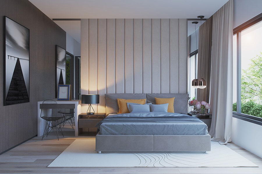 Ideas for decorating a gray bedroom # 11