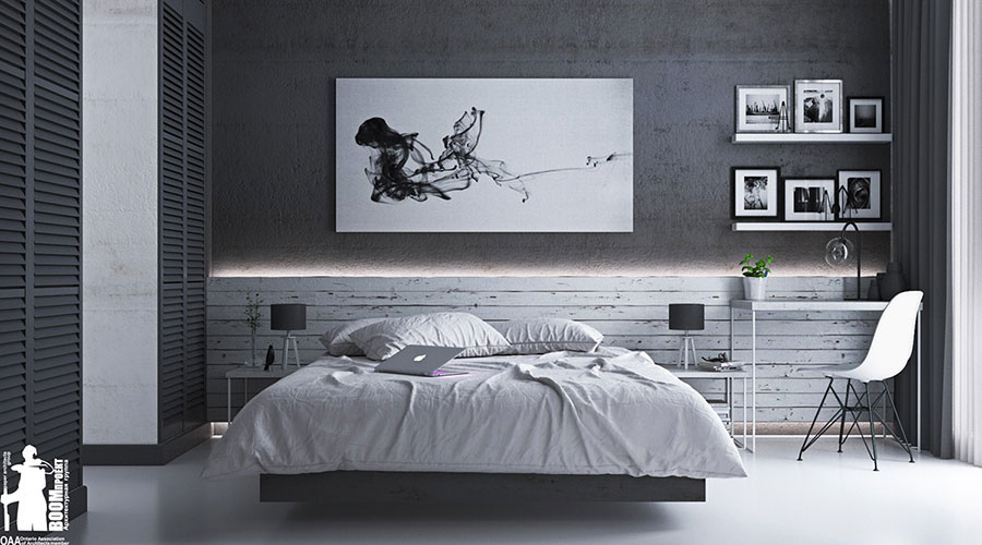 Ideas for decorating a gray bedroom # 03