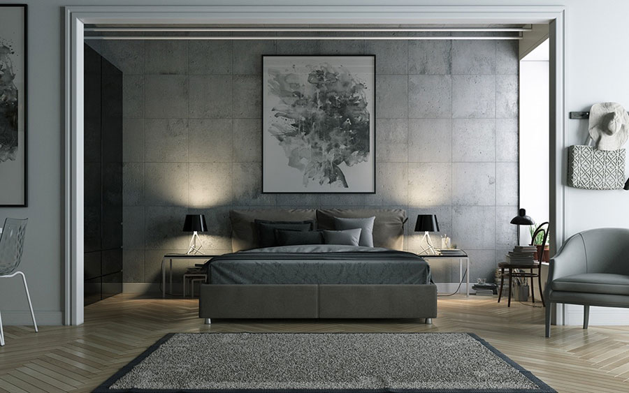Ideas for decorating a gray bedroom # 04