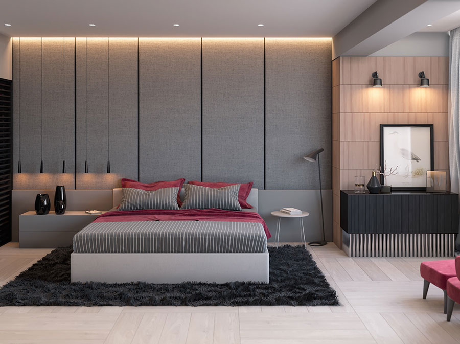 Ideas for decorating a gray bedroom # 10