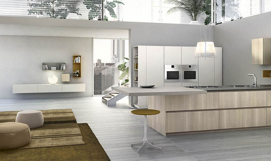 Photo of the kitchen with island and breakfast bar shelf n.13