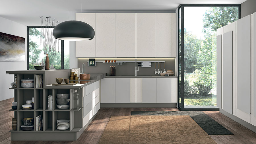 Kitchen model with snack counter n.04