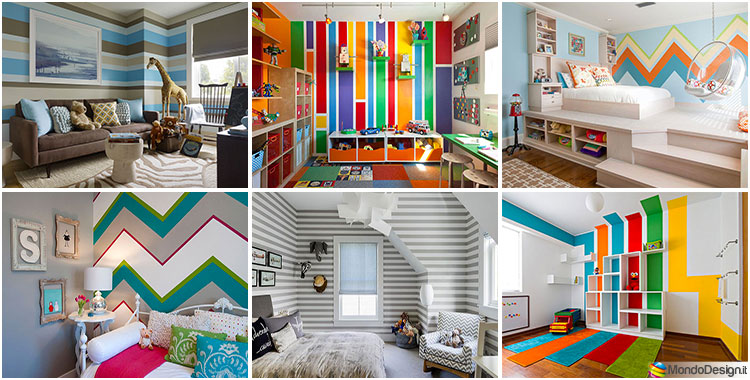 Striped wall ideas for children's bedrooms
