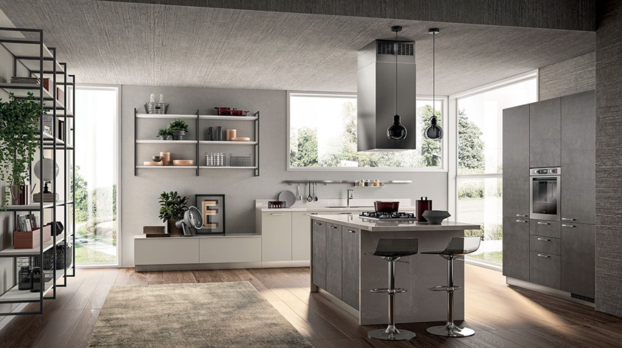 Kitchen model with open shelves n.05