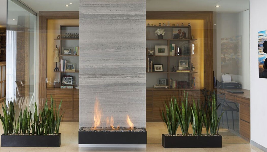 Central fireplace with dividing function n.10