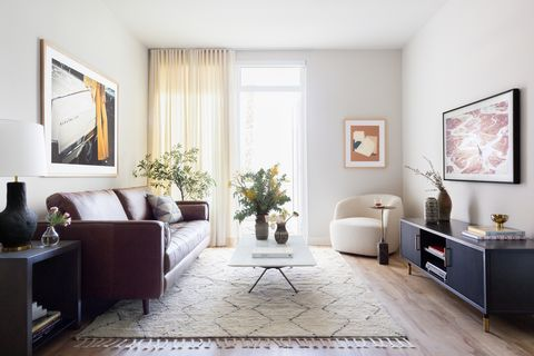 modern living room decorated in neutral tones