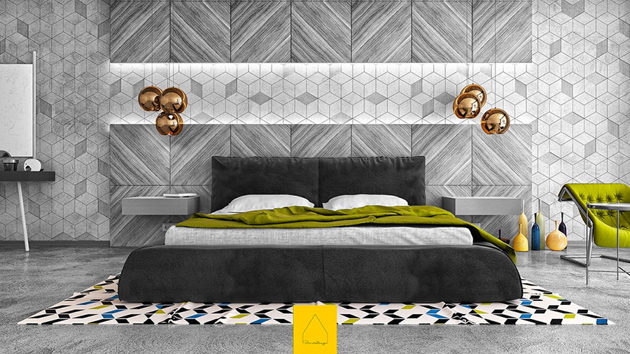 Ideas for decorating a gray bedroom # 01
