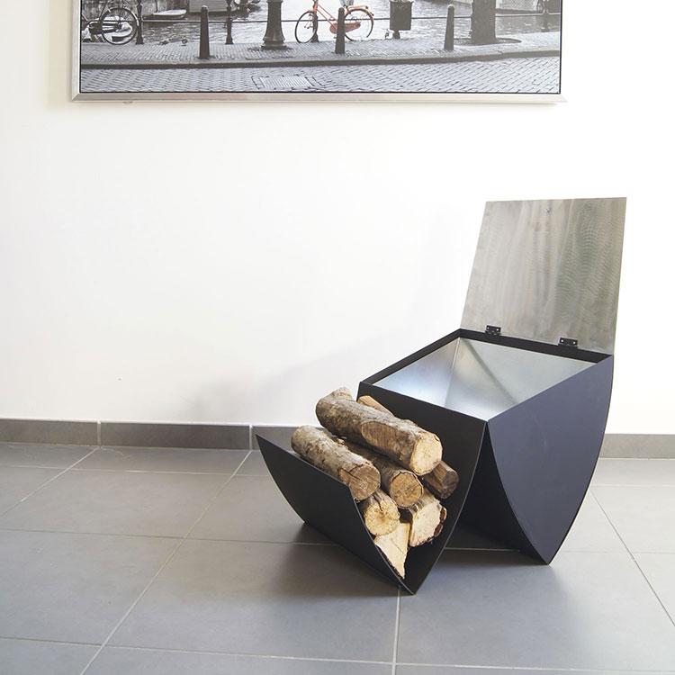 Indoor log holder model with a modern design n.16