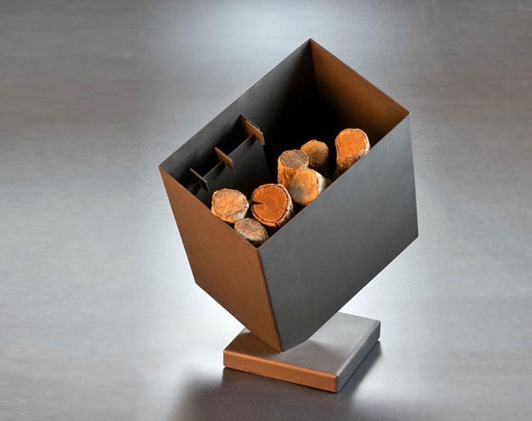 Indoor log holder model with a modern design n.01