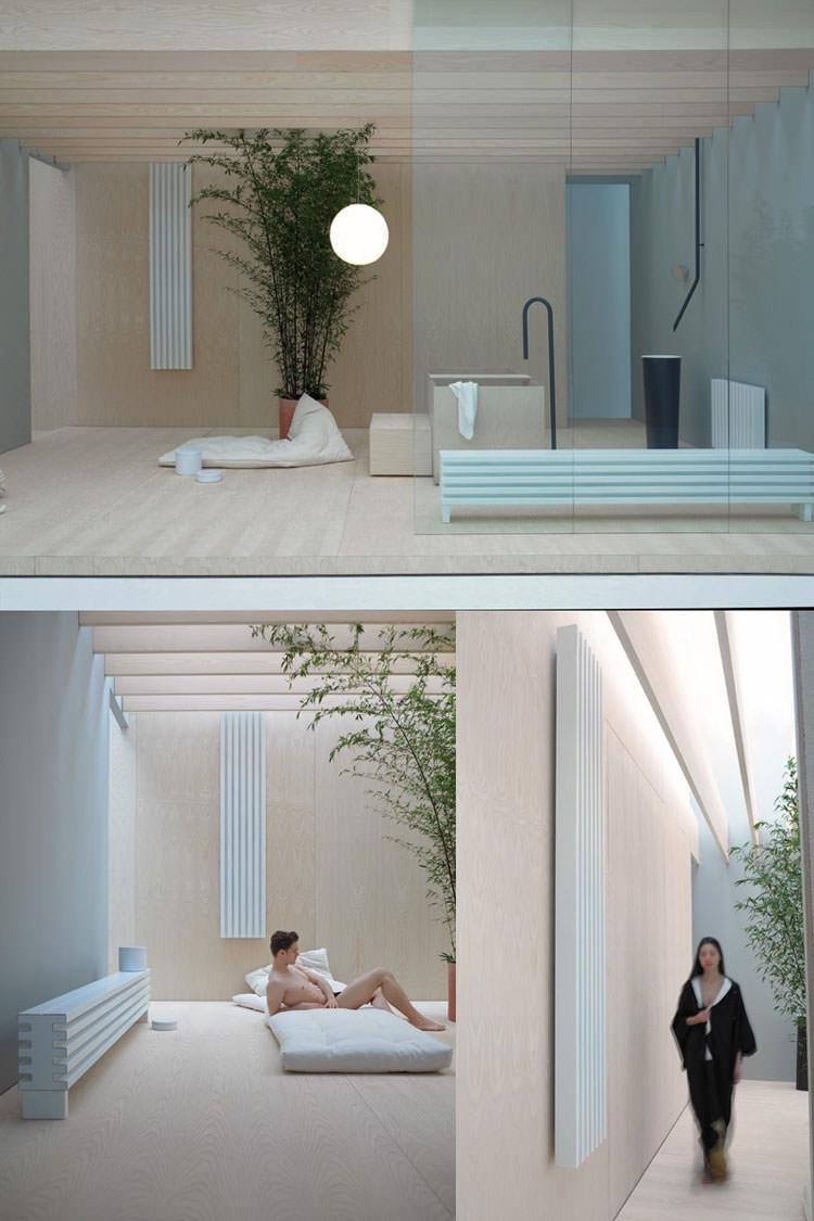 Bathroom radiator with modern design n.18