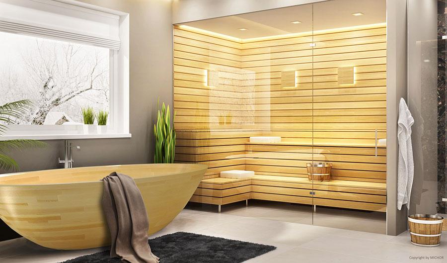 Oval free-standing wooden bathtub n.01
