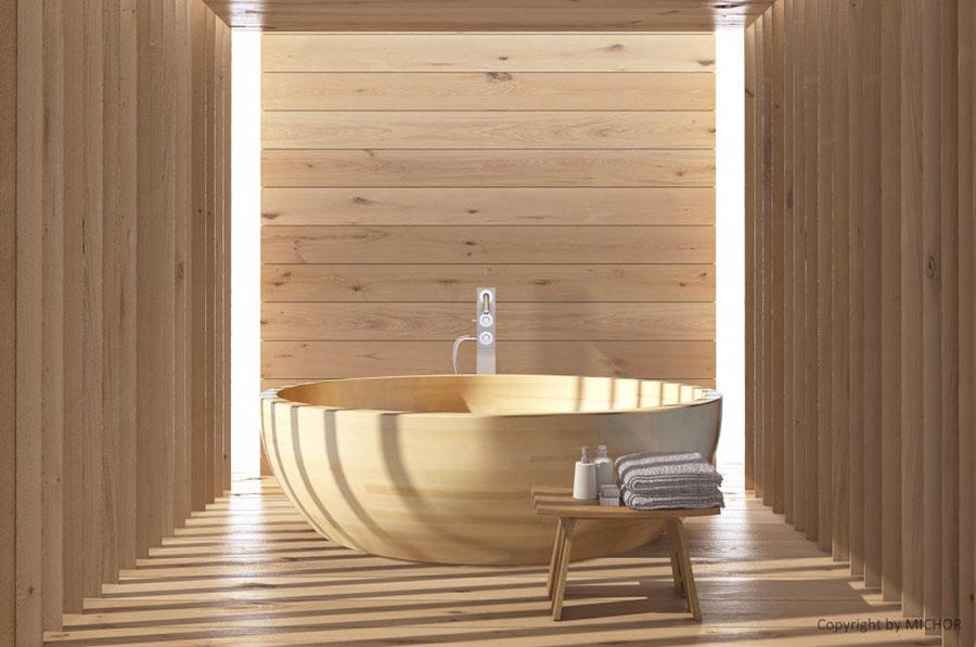 Round wooden free-standing bathtub n.02