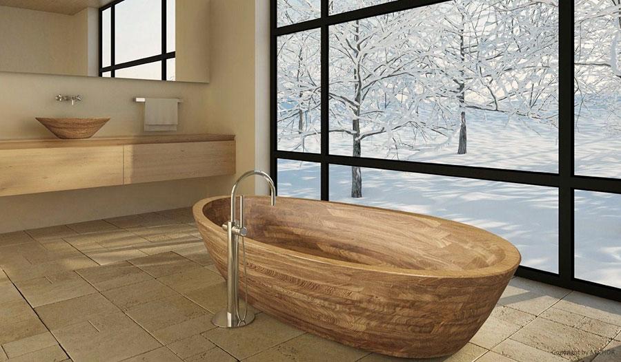 Oval free-standing wooden bathtub n.03