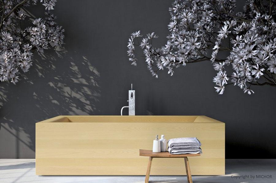Rectangular wooden free-standing bathtub n.01