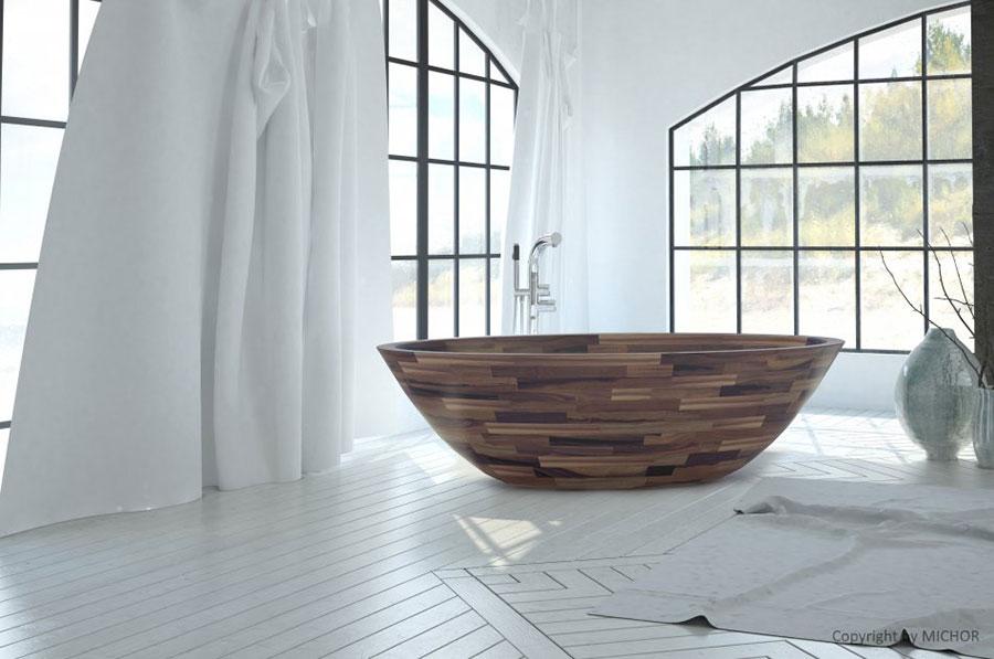 Oval free-standing wooden bathtub n.04