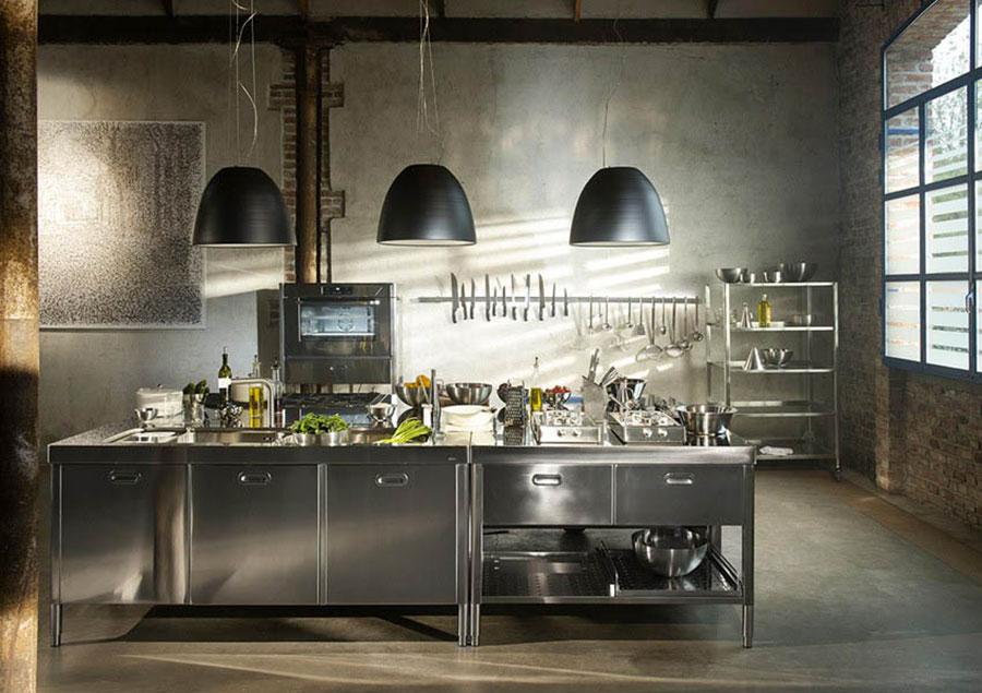 Modern industrial style steel kitchen n.10