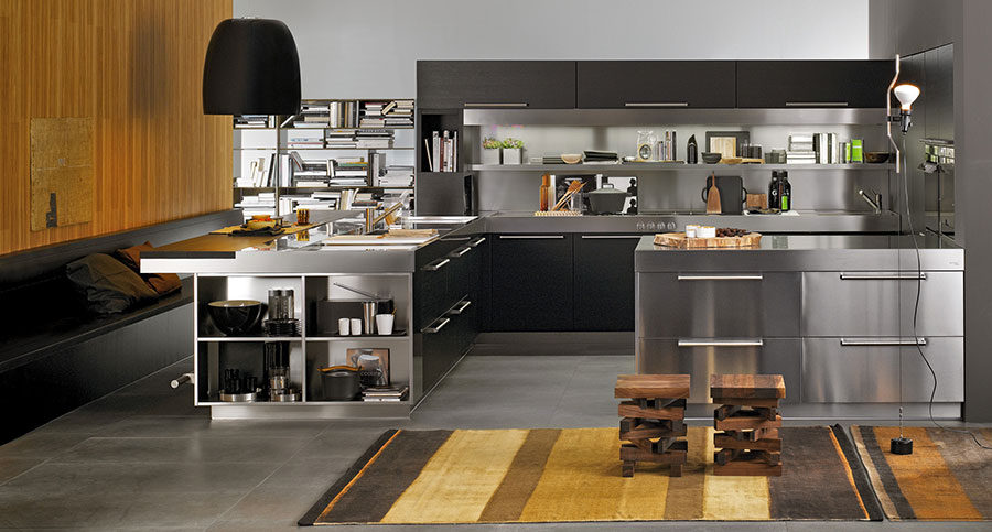 Modern industrial style steel kitchen n.13