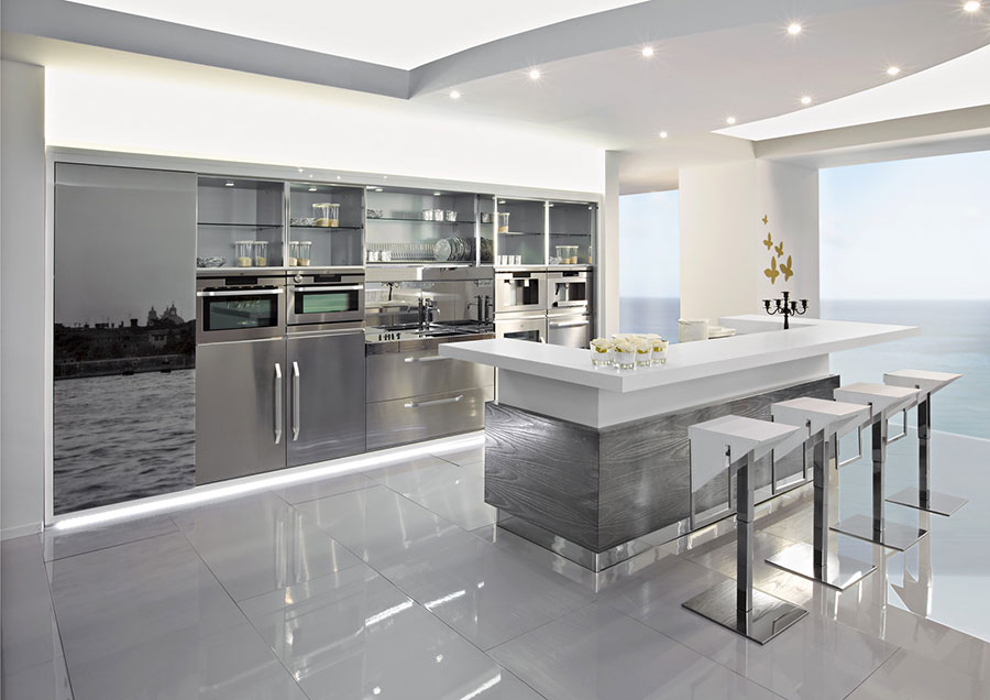 Modern steel kitchen in industrial style n.17