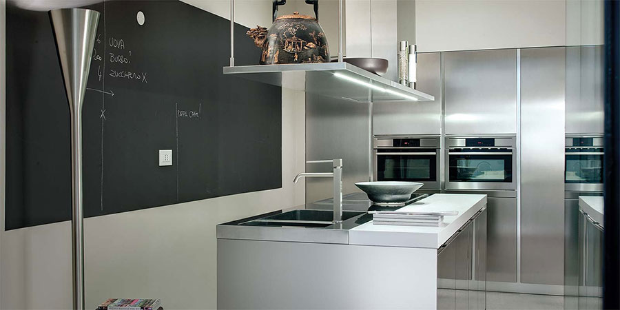 Modern steel kitchen in industrial style n.19