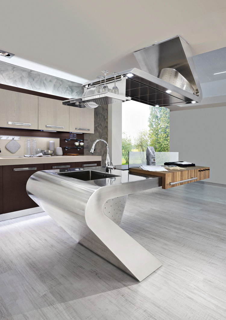 Industrial style modern steel kitchen n.18