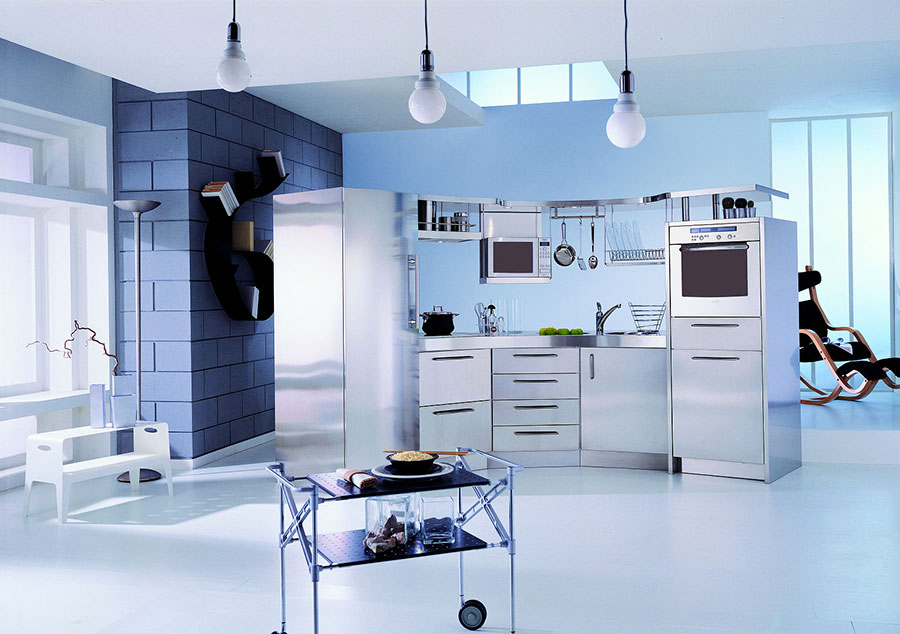Modern industrial style steel kitchen n.06