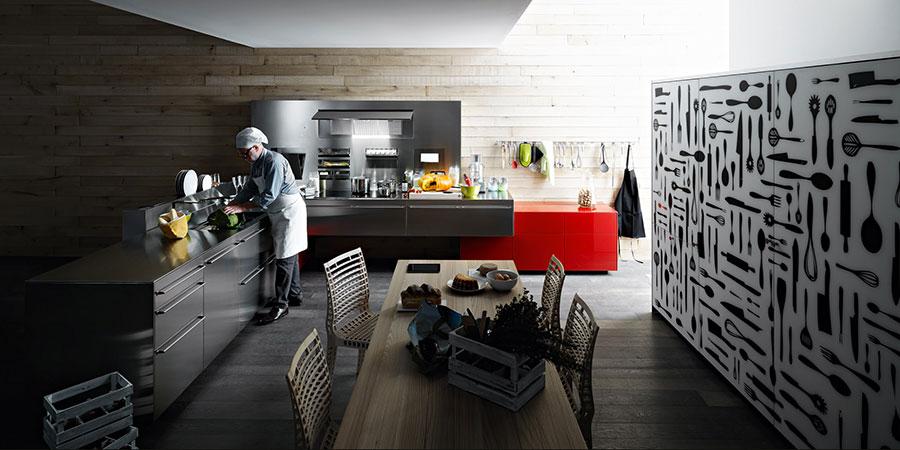 Modern industrial style steel kitchen n.12