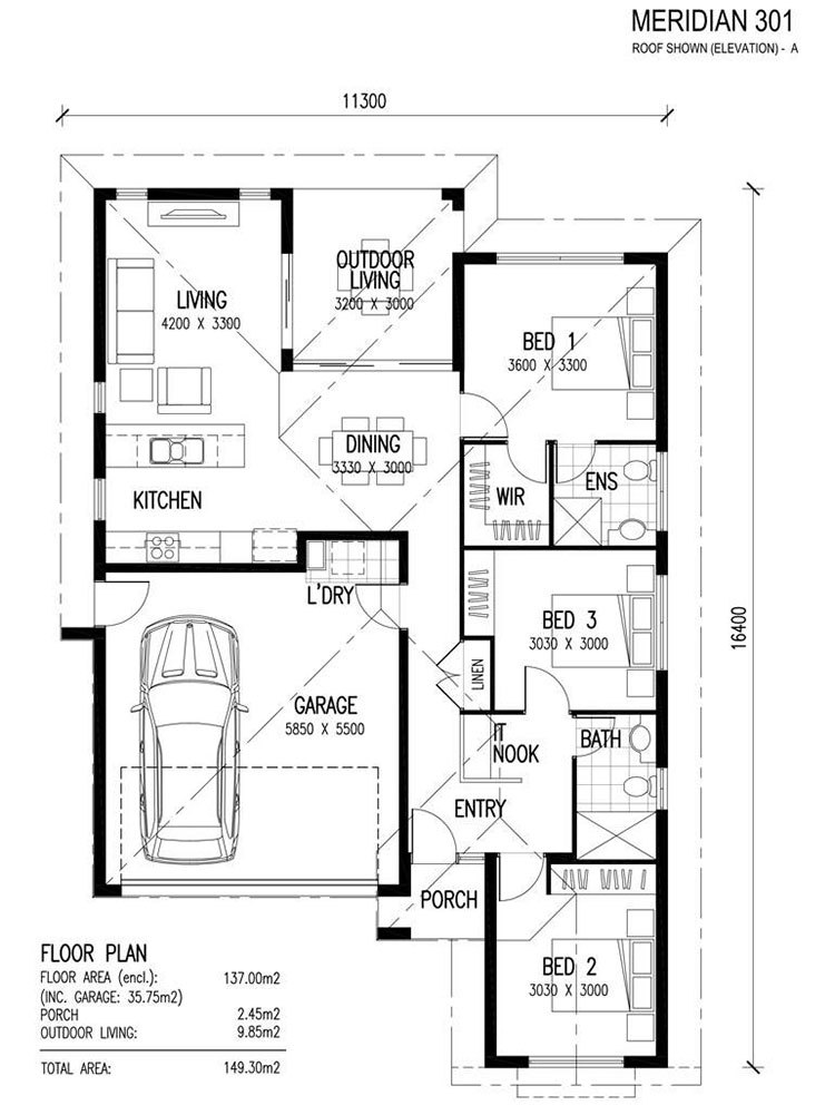House plan ideas of 150 sqm n.04