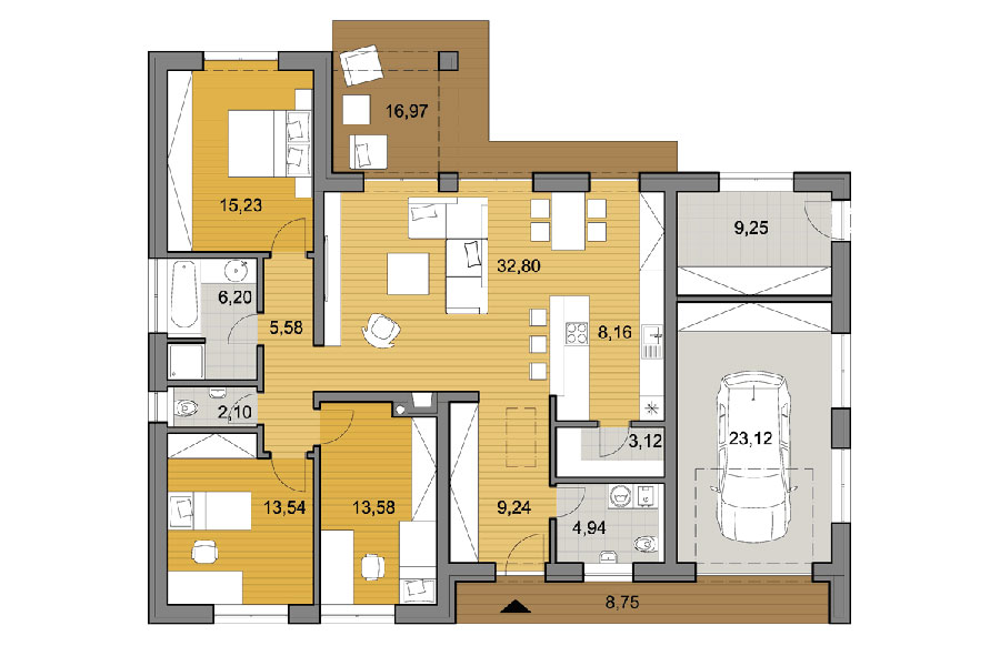House plan ideas of 150 sqm n.02