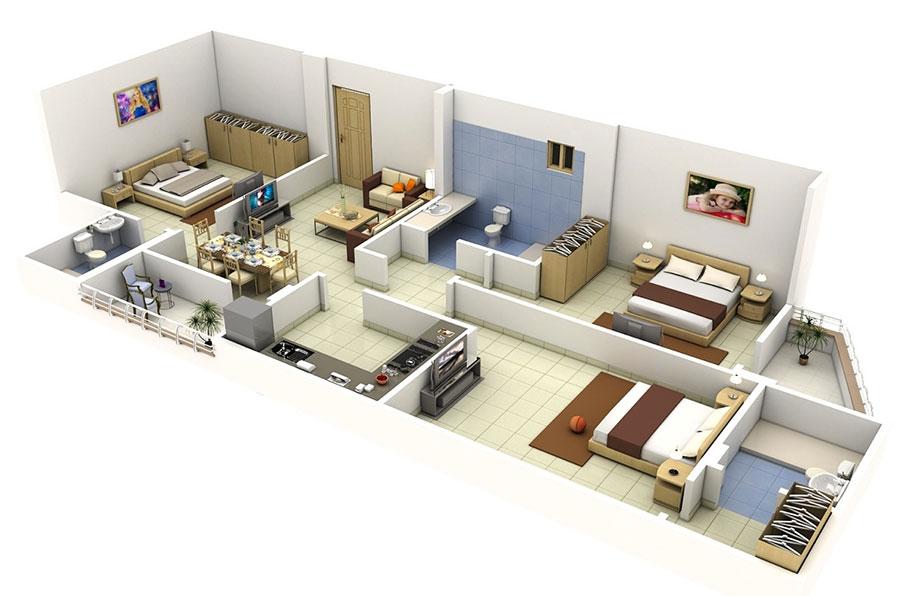 House plan ideas of 150 square meters n.14