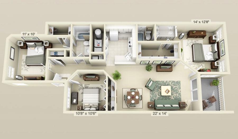 House plan ideas of 150 square meters n.12